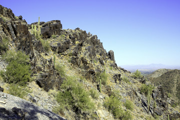 Arizona mountain against a blue sky, in horizontal orientation