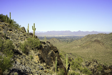 Arizona mountain against a blue sky, in horizontal orientation