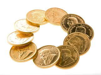 gold Krugerrand coins from South Africa isolated on white