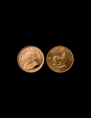 gold Krugerrand coins from South Africa