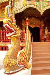 Stairs of Buddhist church in Chiang Rai province, Thailand
