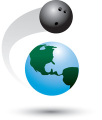 Bowling ball on the world