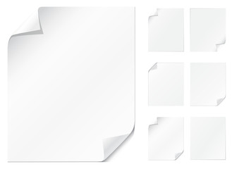 Blank, realistic vector pages with curling edges