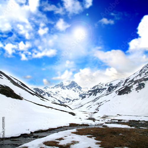 Alpine relaxing landscape with snow