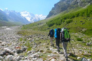 Happy family  in Caucasus mountains