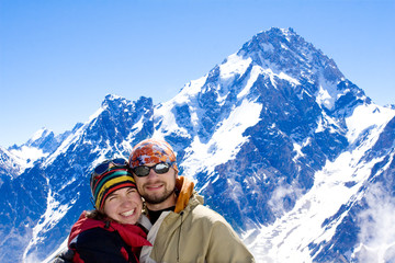 Hiker family  in Caucasus mountains