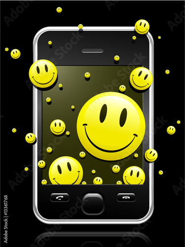 Modern mobile phone smiley faces coming out of the display
