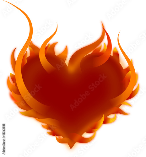 Burning Heart isolated