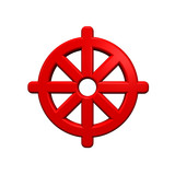 Red Buddhism symbol. poster