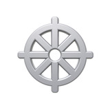 Silver Buddhism symbol. poster