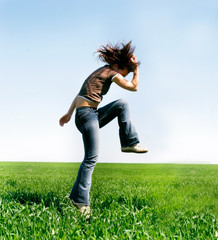 jumping girl on natural background