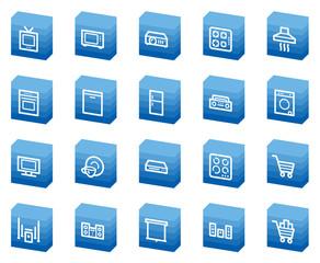 Home appliances web icons, blue box series