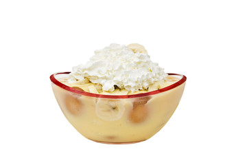 Banana pudding isolated on a white background