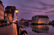Riverside of Gdańsk at dawn.