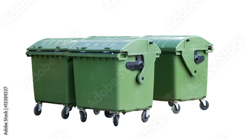 Four green garbage containers