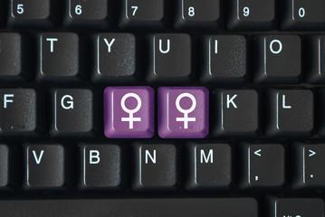 Female symbols on keyboard
