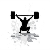 Weightlifter exercising-isolated on white background. poster