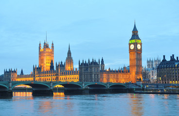 House of Parliament  and Westminsiter bridge in London