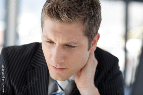 Thoughtful Businessman in front of the camera