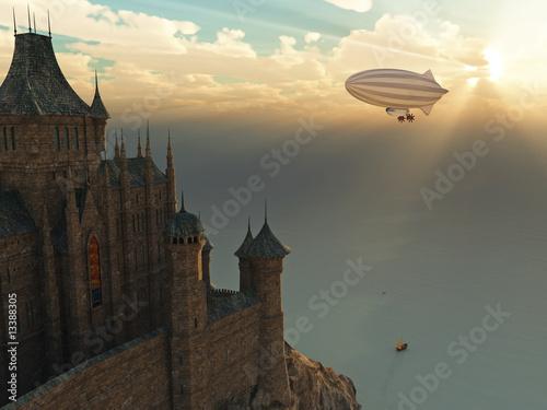 zamek-fantasy-i-latajacy-zeppelin-o-zachodzie-slonca