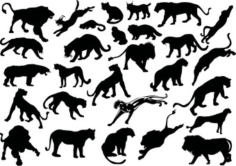 twenty eight big cat silhouettes