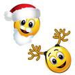 Smiling balls dressed as Santa Claus and reindeer