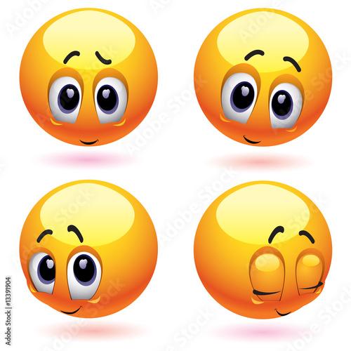 Shy and blushing smiling balls