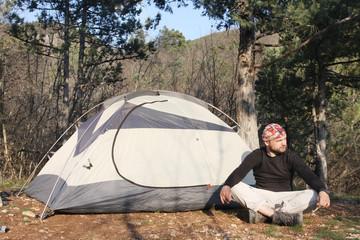 Hiker near the tent