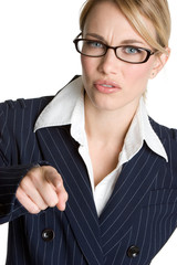 Mad Businesswoman Pointing
