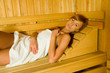 Young beauty in sauna