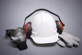 hard hat, protective gloves, eye protectors,headphones poster