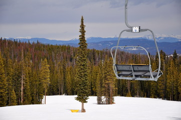 Empty Chair Lift at Colorado Ski Resort