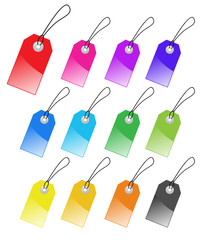 Set of multicolored vector tags for marketing design.