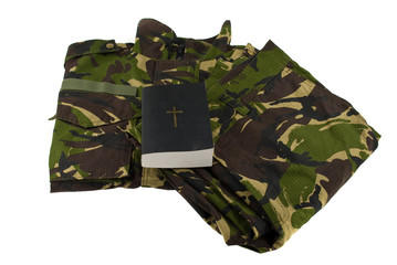 Army  camouflage uniform and bible