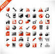 new set of 49 most popular icons on the web / red