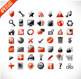Fototapety new set of 49 most popular icons on the web / red