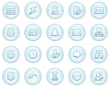 Database web icons, light blue circle buttons series poster