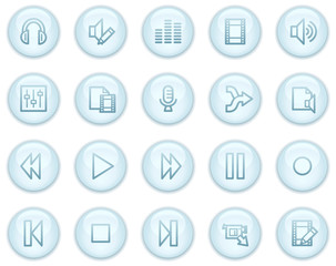 Audio and video edit web icons, light blue circle buttons series