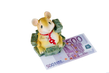 Coin box-mouse with a banknote on a white background