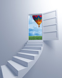 Stairway to the freedom and balloon poster