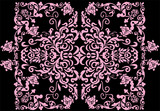 symmetric pink frame with curls poster