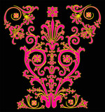 pink and yellow symmetric design poster
