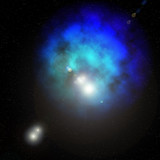 Blue space nebula with stars poster