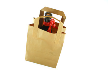 ecological paper bag and bottle