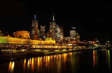 Melbourne Flinders Station at night