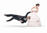 Bride abusing groom, isolated on white poster