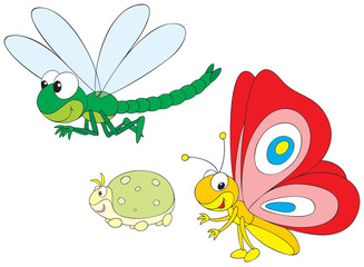 Dragonfly, greenfly and butterfly