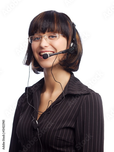 Smiled brunette woman with headphone and microphone