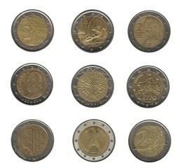 2 euro coins, eight nations background