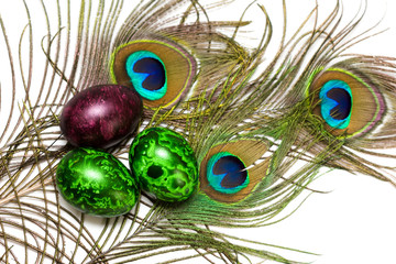 Easter eggs with eye of peacock